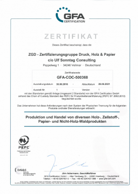 PEFC-Zertifikat ZGD 2016