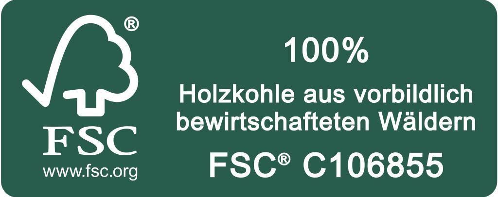 FSC Label Holzkohle quer