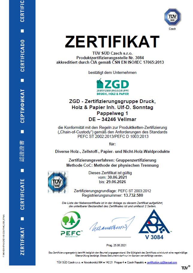 PEFC-Zertifikat ZGD 2021