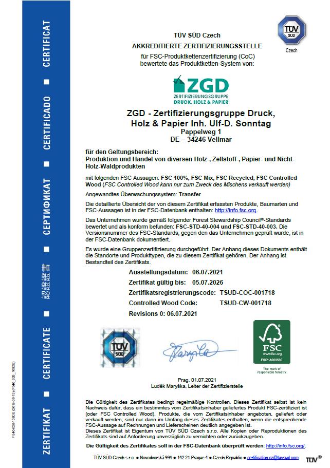FSC-Zertifikat ZGD 2016